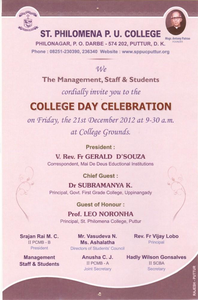 college day celebration invitation st philomena pre university
