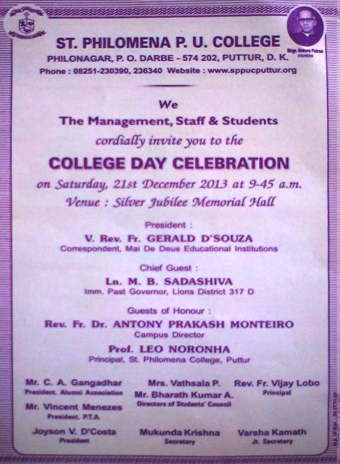 invitation of college day celebration st philomena pre university