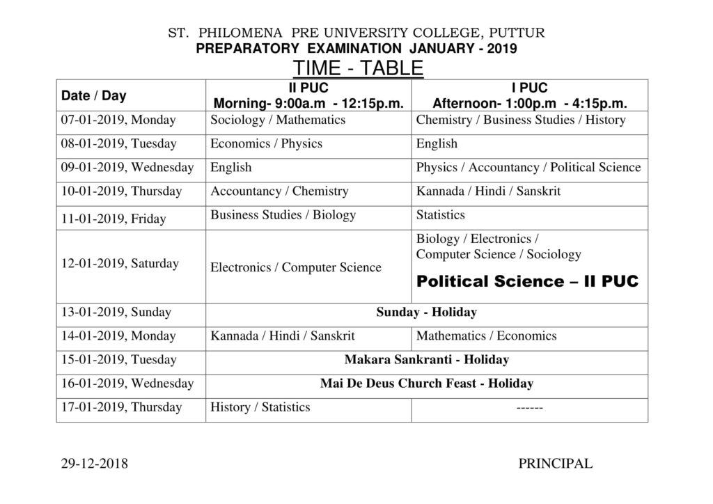Revised Preparatory Examination Timetable – 2019 | St